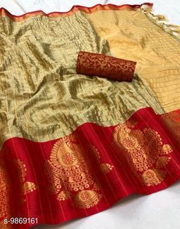 Soft Silk Cream Red Color saree with zalar pallu and bouse