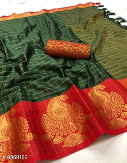Soft Silk Mendi Color saree with zalar pallu and bouse