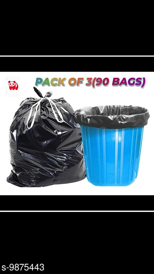 YH Black Garbage Bags 19 X 21 Inch   3 Packs of 30 Pcs - 90 Bags   Disposable Dustbin Bags Medium Size for Home Kitchen   Pantry Dustbin Covers