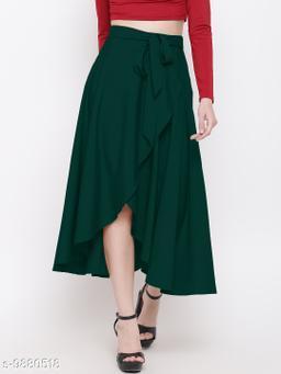 Women's Ruffle Pants Split High Waist Maxi Long Crepe Palazzo Overlay Skirt
