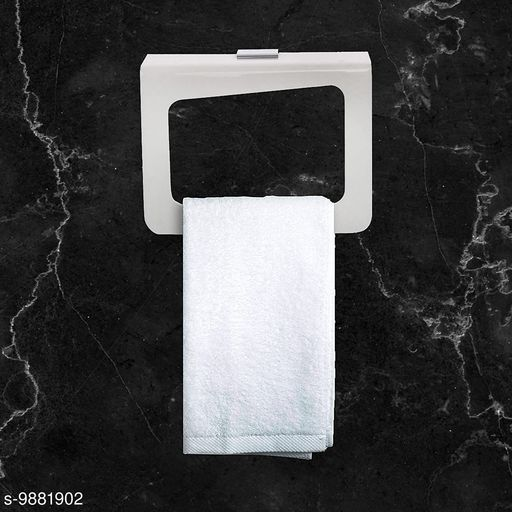 Towel Holder Square Bathroom Accessories for Home | Capsule, White, (7 Inch)