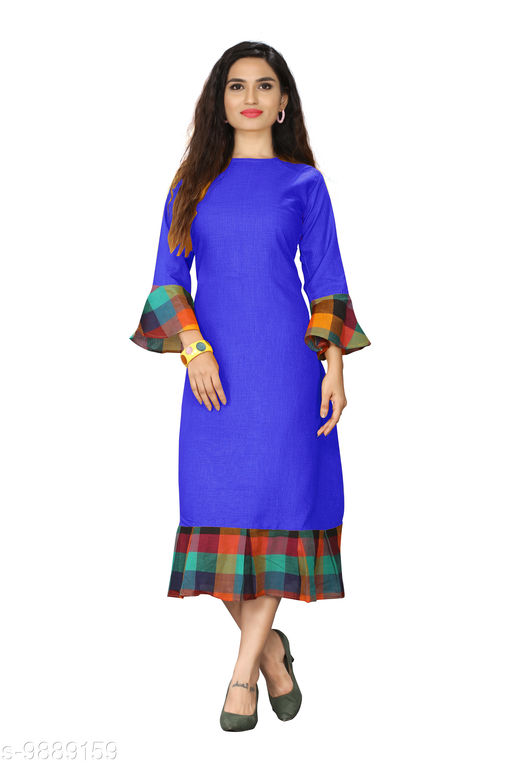 Kurtis & Kurtas Checks Plain Kurti With Checks Border   *Fabric* Cotton Blend  *Sleeve Length* Long Sleeves  *Pattern* Plain With Checks Border  *Type* Stitched  *Combo of* Single  *Sizes*   *M (Bust Size* 38 in, Size Length  *L (Bust Size* 40 in, Size Length  *XL (Bust Size* 42 in, Size Length  *XXL (Bust Size* 44 in, Size Length  *3XL (Bust Size* 46 in, Size Length  *4XL(Bust Size* 48 in, Size Length  *Sizes Available* M, L, XL, XXL, XXXL, 4XL *    Catalog Name: Checks Plain Kurti With Checks Border CatalogID_1760532 C74-SC1001 Code: 615-9889159-