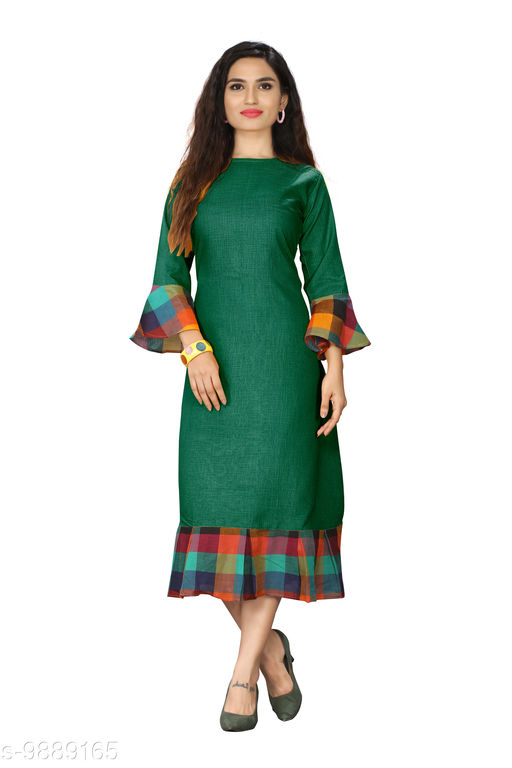 Kurtis & Kurtas Checks Plain Kurti With Checks Border   *Fabric* Cotton Blend  *Sleeve Length* Long Sleeves  *Pattern* Plain With Checks Border  *Type* Stitched  *Combo of* Single  *Sizes*   *M (Bust Size* 38 in, Size Length  *L (Bust Size* 40 in, Size Length  *XL (Bust Size* 42 in, Size Length  *XXL (Bust Size* 44 in, Size Length  *3XL (Bust Size* 46 in, Size Length  *4XL(Bust Size* 48 in, Size Length  *Sizes Available* M, L, XL, XXL, XXXL, 4XL *    Catalog Name: Checks Plain Kurti With Checks Border CatalogID_1760532 C74-SC1001 Code: 615-9889165-