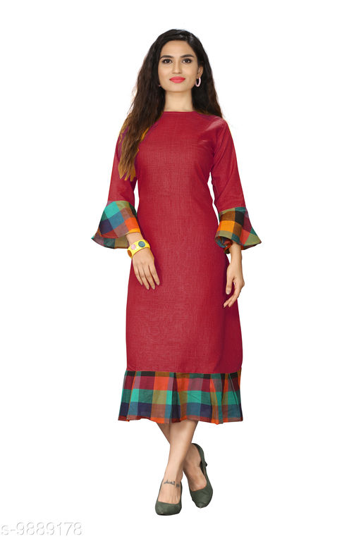 Kurtis & Kurtas Checks Plain Kurti With Checks Border   *Fabric* Cotton Blend  *Sleeve Length* Long Sleeves  *Pattern* Plain With Checks Border  *Type* Stitched  *Combo of* Single  *Sizes*   *M (Bust Size* 38 in, Size Length  *L (Bust Size* 40 in, Size Length  *XL (Bust Size* 42 in, Size Length  *XXL (Bust Size* 44 in, Size Length  *3XL (Bust Size* 46 in, Size Length  *4XL(Bust Size* 48 in, Size Length  *Sizes Available* M, L, XL, XXL, XXXL, 4XL *    Catalog Name: Checks Plain Kurti With Checks Border CatalogID_1760532 C74-SC1001 Code: 615-9889178-