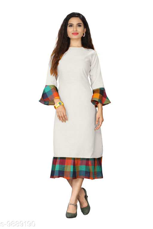 Kurtis & Kurtas Checks Plain Kurti With Checks Border   *Fabric* Cotton Blend  *Sleeve Length* Long Sleeves  *Pattern* Plain With Checks Border  *Type* Stitched  *Combo of* Single  *Sizes*   *M (Bust Size* 38 in, Size Length  *L (Bust Size* 40 in, Size Length  *XL (Bust Size* 42 in, Size Length  *XXL (Bust Size* 44 in, Size Length  *3XL (Bust Size* 46 in, Size Length  *4XL(Bust Size* 48 in, Size Length  *Sizes Available* M, L, XL, XXL, XXXL, 4XL *    Catalog Name: Checks Plain Kurti With Checks Border CatalogID_1760532 C74-SC1001 Code: 615-9889190-