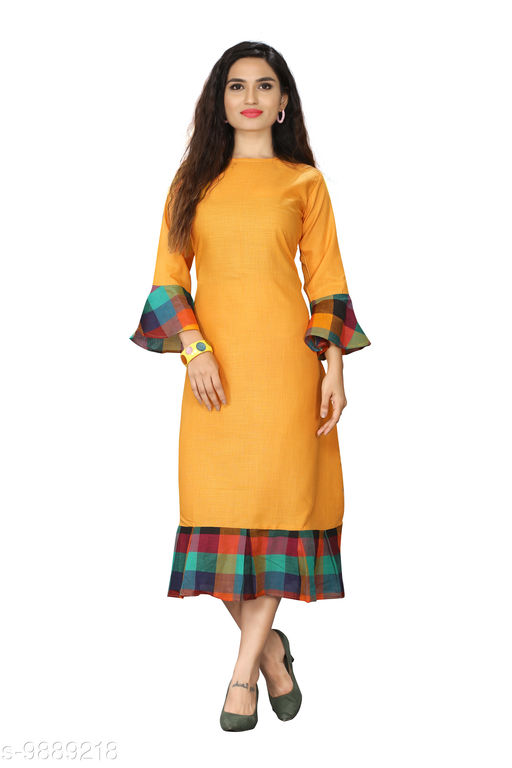 Kurtis & Kurtas Checks Plain Kurti With Checks Border   *Fabric* Cotton Blend  *Sleeve Length* Long Sleeves  *Pattern* Plain With Checks Border  *Type* Stitched  *Combo of* Single  *Sizes*   *M (Bust Size* 38 in, Size Length  *L (Bust Size* 40 in, Size Length  *XL (Bust Size* 42 in, Size Length  *XXL (Bust Size* 44 in, Size Length  *3XL (Bust Size* 46 in, Size Length  *4XL(Bust Size* 48 in, Size Length  *Sizes Available* M, L, XL, XXL, XXXL, 4XL *    Catalog Name: Checks Plain Kurti With Checks Border CatalogID_1760532 C74-SC1001 Code: 615-9889218-