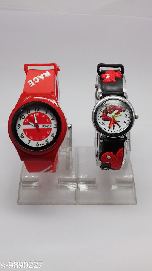 combo-2 red race & black spidermen watches for kids