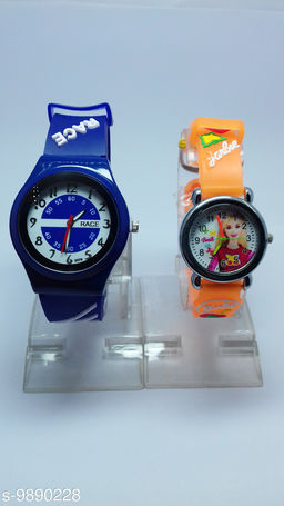combo-2 royal blue race & orange barbie watches for kids