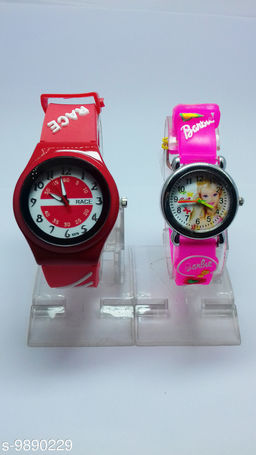 combo-2 red race & light pink barbie watches for kids