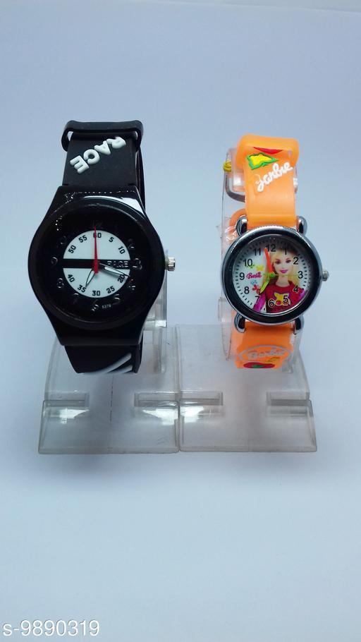combo-2 black race & orange barbie watches for kids