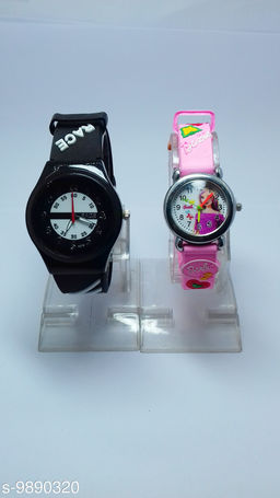 combo-2 red race & dark pink barbie watches forkids