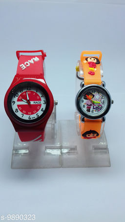 combo-2 red race & orange barbie watches for kids