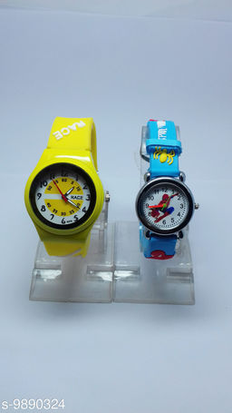 combo-2 yellow race & light blue spidermen watches for kids