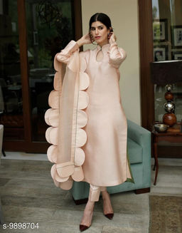 Amazing peach Colored Partywear Top and Ankle length pent with Beautiful Duppata