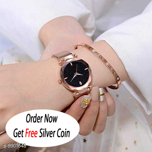 Gold Magnet with Black Dial, Diamond Hours & Gold Belt An alog Watch for Men and Women ( PCS :- 1)