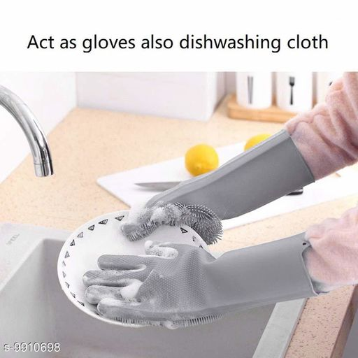 Oven Gloves washing gloves(multicolor)  *Material* Rubber  *Size* Free Size  *Sizes Available* Free Size *    Catalog Name: Wonderful Cleaning Gloves CatalogID_1765198 C129-SC1636 Code: 563-9910698-