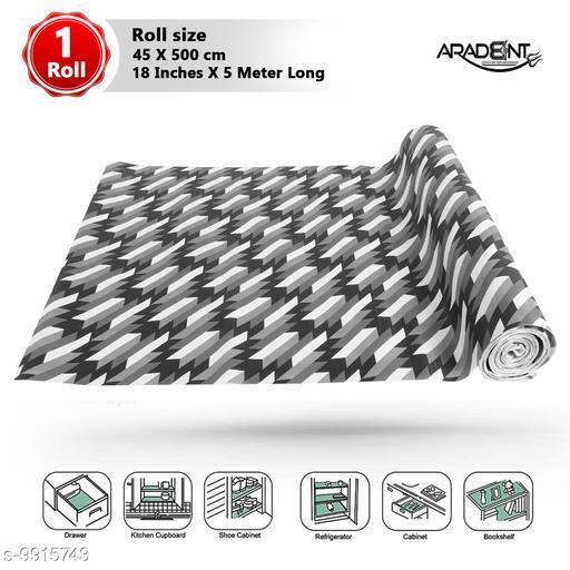 """WISHLAND™ Multipurpose Non-Slip, Anti Skid, Easy Grip Washable PVC Shelf Linen Roll for Cabinets, Kithen Shelves, Drawer (18"""" X 5 mtr, Black)"""