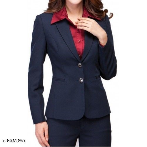 Blazers Women's Formal Blazer  *Fabric* Polycotton  *Sleeve Length* Long Sleeves  *Pattern* Solid  *Multipack* 1  *Sizes*   *S (Chest Size* 36 in, Length Size  *Sizes Available* S, M, L, XL *    Catalog Name: Trendy Ravishing Men Blazers CatalogID_1766405 C70-SC1210 Code: 9912-9916180-