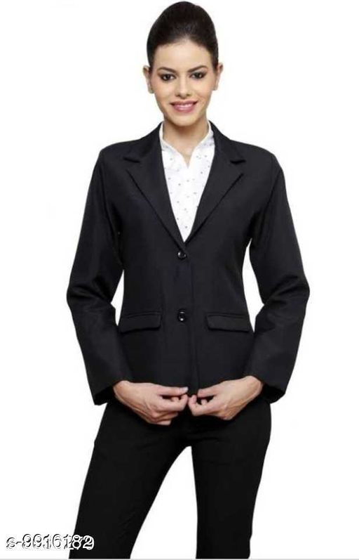 Blazers Women's Formal Blazer  *Fabric* Polycotton  *Sleeve Length* Long Sleeves  *Pattern* Solid  *Multipack* 1  *Sizes*   *S (Chest Size* 36 in, Length Size  *Sizes Available* S, M, L, XL *    Catalog Name: Trendy Ravishing Men Blazers CatalogID_1766405 C70-SC1210 Code: 9912-9916182-