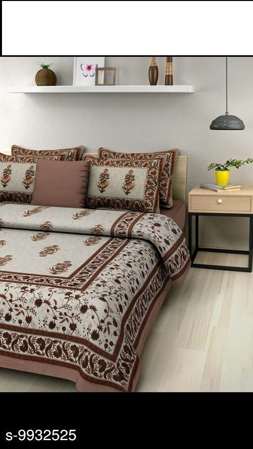 Jaipuri 100 % Cotton Double Bedsheet With 1 Pair Of  Pillow cover Size (90 inch x 100 inch)