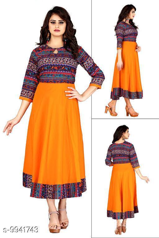 Women Crepe Flared Printed Orange Kurti
