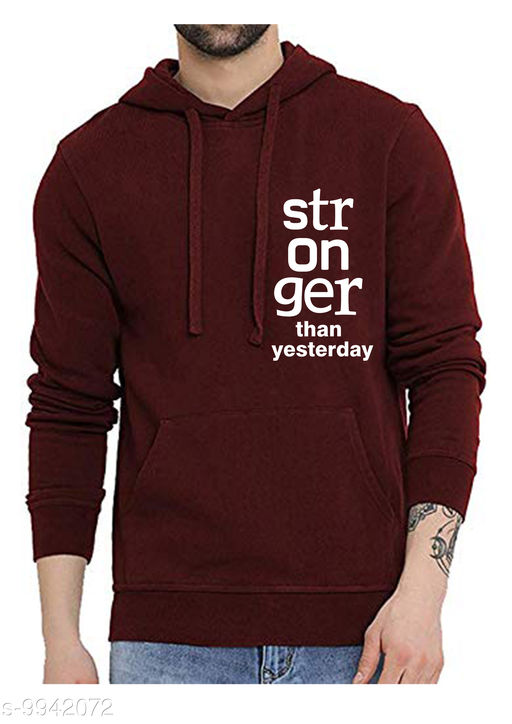 STRONGER Printed Hooded Neck Sweatshirt for Men