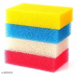 Vessel Crew Sponge Scrubber Multi Purpose Cleaning Sponges Scoured with one Side Absorbent Sponge & Other Side Scouring Pad (Multi Color) Pack of 4