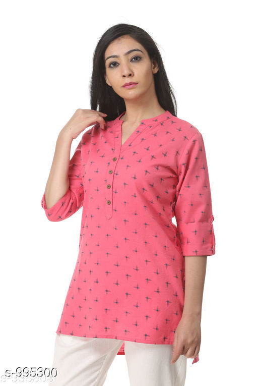 Kurtis & Kurtas Sleek Style Cotton Flex Women's Short Top Kurti  *Fabric* Cotton Flex  *Sleeves* 3/4 Sleeves Are Included  *Size* XS, S, M, L, XL, XXL, 3XL, 4XL (Refer Size Chart)  *Type* Stitched  *Description* It Has 1 Piece Of Women's Short Top Kurti  *Pattern * Solid  *Sizes Available* XS, S, M, L, XL, XXL, XXXL, 4XL   Catalog Rating: ★4.3 (91) Supplier Rating: ★4.3 (21142) SKU: KWTSTOPMKKIPINK  Shipping charges: Rs1 (Non-refundable) Pkt. Weight Range: 300  Catalog Name: Sofia Sleek Style Cotton Flex Women's Short Top Kurtis Vol 1 - Pistaa Sales Code: 515-995300--036