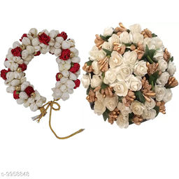 VinshBond Bridal Hair Red Mogra Gajra Bun Flower Hair Gajra  , White  (Pack -02)