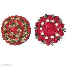 VinshBond  Artificial Flower Bun Hair Flower Gajra , Red, Pack of 2