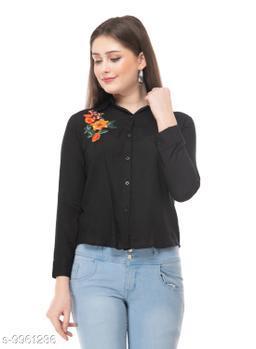 SAAKAA Women's Rayon Black Embroidery Shirt