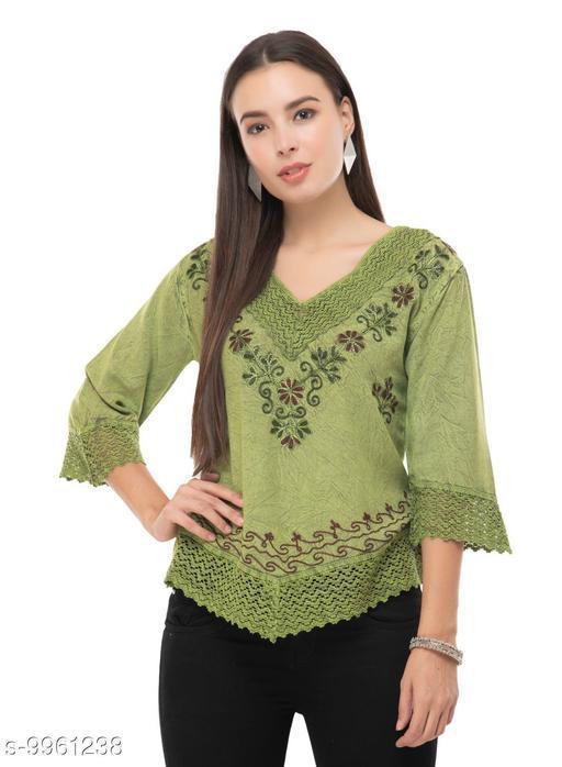 SAAKAA Women's Rayon Green Embroidery Top