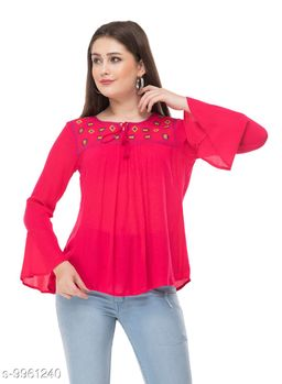 SAAKAA Women's Rayon Pink Embroidery Top