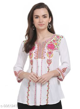 SAAKAA Women's Rayon Off White Embroidery Top