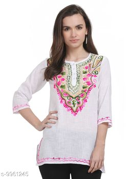 SAAKAA Women's Cotton Off White Embroidery Top