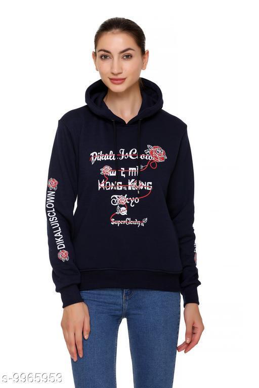S.L. Madhok Full Sleeve Solid Hooded Winter Round Neck Women's Sweatshirt