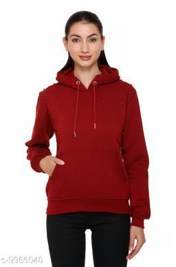 S.L. Madhok Full Sleeve Solid Hooded Winter Zipper Women's Sweatshirt