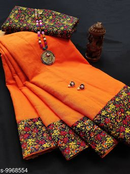 Madhavi Chanderi cotton with lace border saree