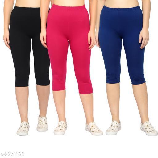 Myo Cotton Lycra Solid Capri For Women/Girls Pack Of 3
