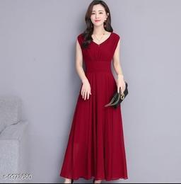 Women's Wine Red V-Neck Dress