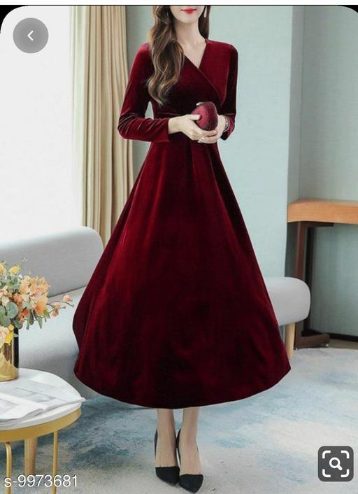 Women's Maroon V-Neck Velvet Dress