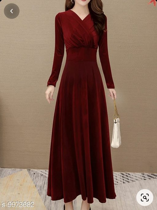 Women's Maroon V-Neck Velvet Long Dress
