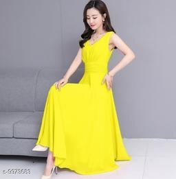 Women's Yellow V-Neck Long Dress