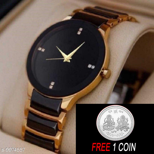 FREE 1 PCS SILVER COLOR COIN WITH IIK Gold Men :- A nalogue Gold Dial Basics Wrist Watch for Men  ( 1 PCS )