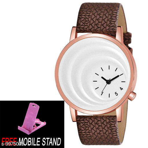 FREE 1 PCS MOBILE STAND WITH MT - 16 White Dial with Rosegold Case Analogue MT Watch for Boy's and Men' 1 Pcs