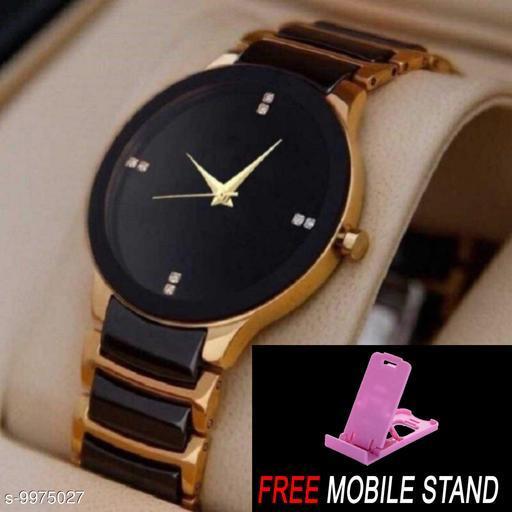 FREE 1 PCS MOBILE STAND WITH  IIK Gold Men :- A nalogue Gold Dial Basics Wrist Watch for Men  ( 1 PCS )