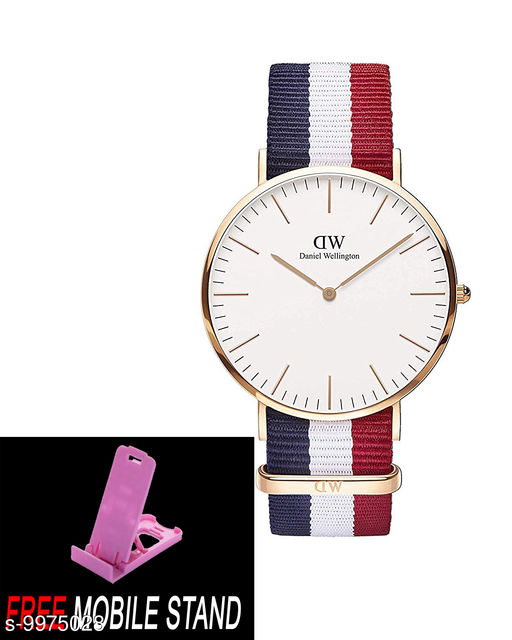 FREE 1 PCS MOBILE STAND WITH DW England  :- M en & Women's Watch (White Dial White, Blue & Red Colored Strap)( 1 PCS )