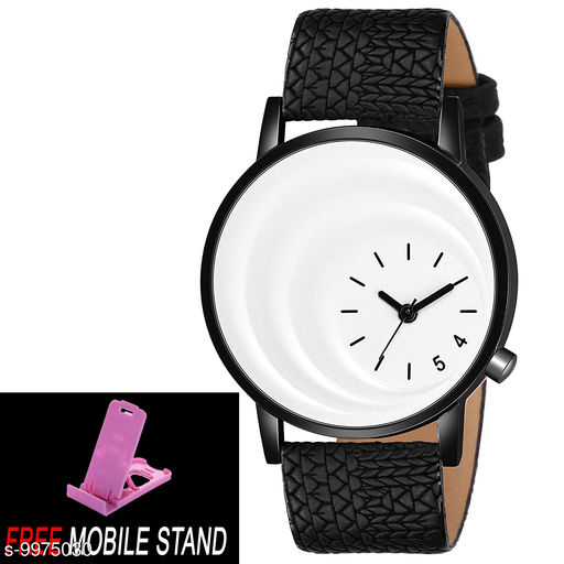 FREE 1 PCS MOBILE STAND WITH MT - 20 White Di al with Black Case Analogue MT Watch for Boy's and Men's 1 PCS