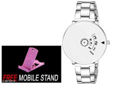 FREE 1 PCS MOBILE STAND WITH WHITE PAIDU  Casu al Analoge White Dial Men's Stainless Steel Watch- S.S.V_Paidu WhitE (1 PCS)