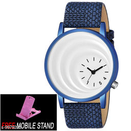 FREE 1 PCS MOBILE STAND WITH MT -15 White Dial with Blue Case Analogue MT Watch for Boy's and Men's ( 1 PCS )